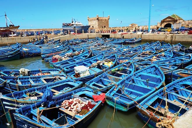 Les mythiques bateaux bleus du port d'Essaouira au Maroc
