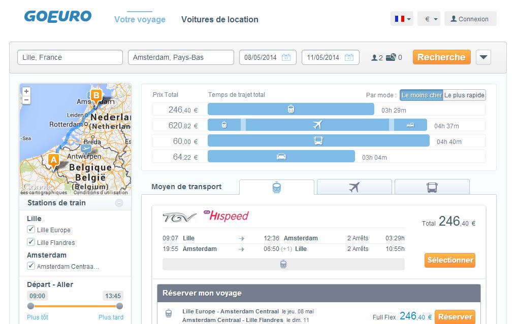 Aperçu du site de comparaison de voyage GoEuro - planete3w