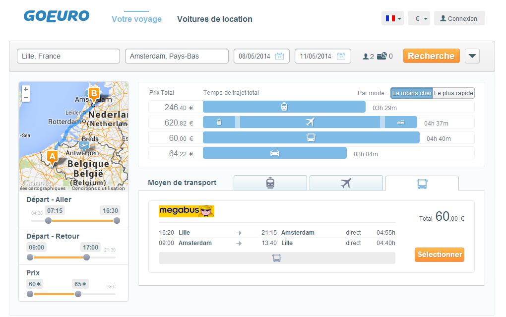 Page de résultats du site de comparaison de voyage GoEuro - planete3w