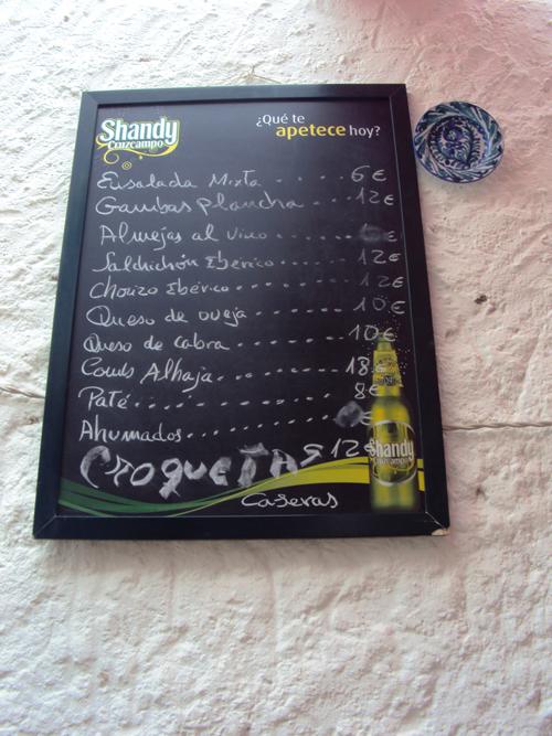 Menu del dia dans un Bar à Tapas - Les croquetas sont disponibles ;)