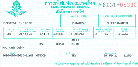 Ticket de train en Thaïlande