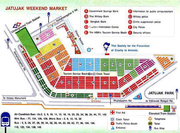 Plan du marché de Chatuchak à Bangkok