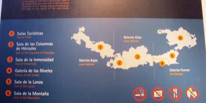Le plan des grottes de Nerja