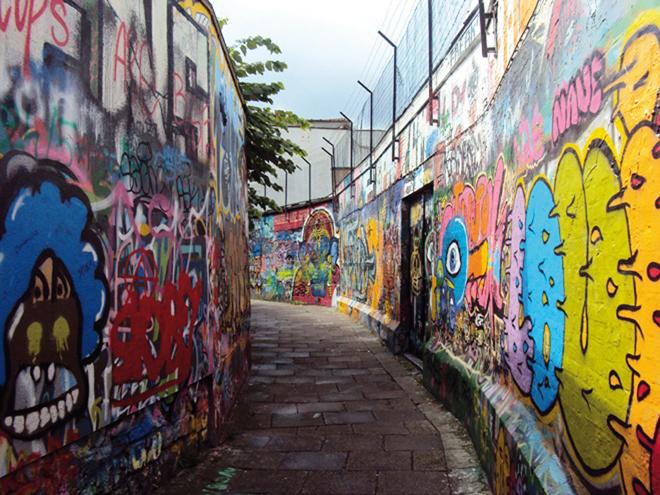 La ruelle des graffitis à Gand : Werregarenstraatje