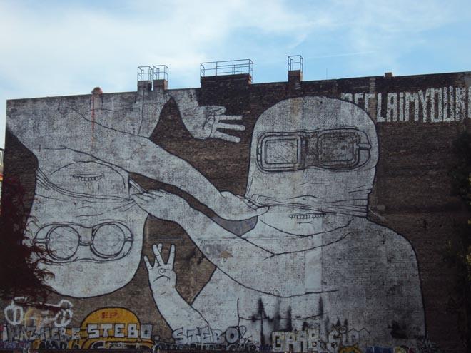 Street art dans le quartier de Friedrichshain de Berlin