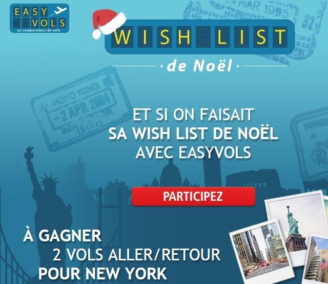 Concours wish list de Noel avec Easyvols