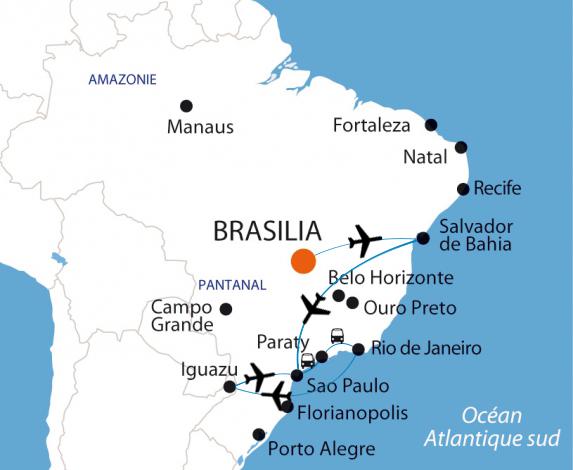 Itinéraire d'un voyage d'un mois au Brésil