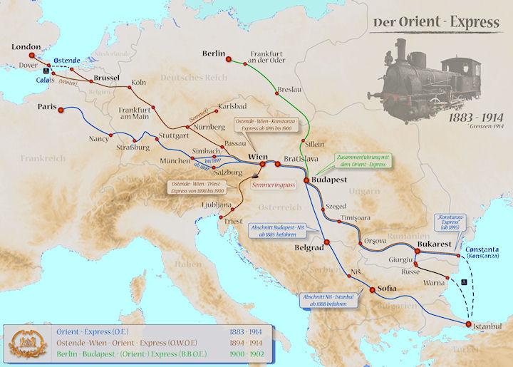 Le trajet initial à travers l'Europe de l'Orient Express