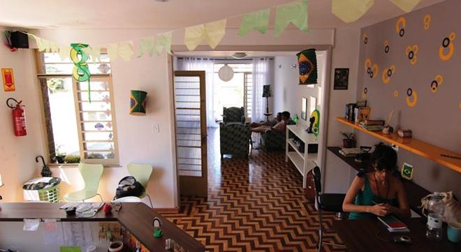 L'accueil de l'auberge de jeunesse Cafe hostel de Sao Paulo