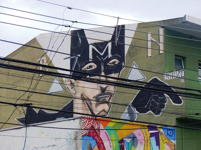 L'oeuvre street-art Beco do Batman dans le quartier de Vila Madalena de Sao Paulo