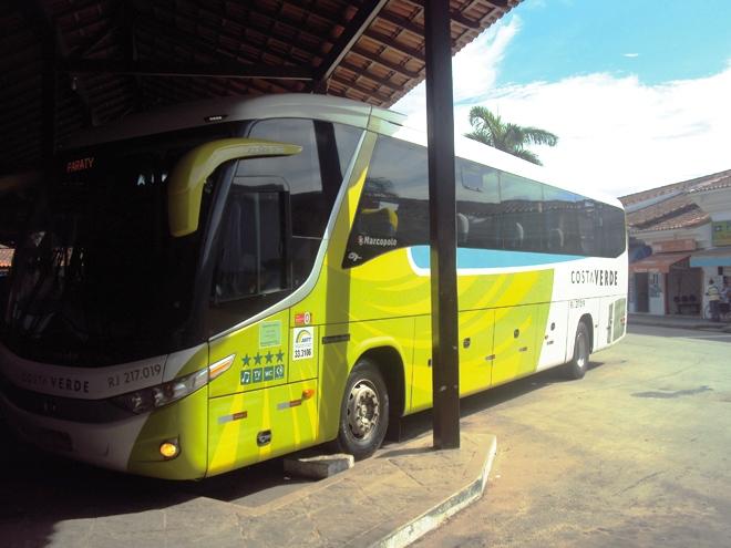 Le bus de la compagnie Costa Verde qui relie Paraty et Rio de Janeiro