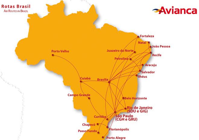 La carte des vols de Avianca au Brésil