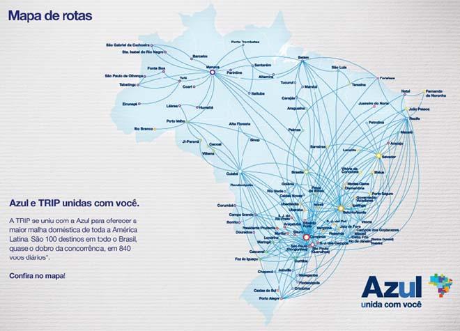 La carte des vols de Azul au Brésil