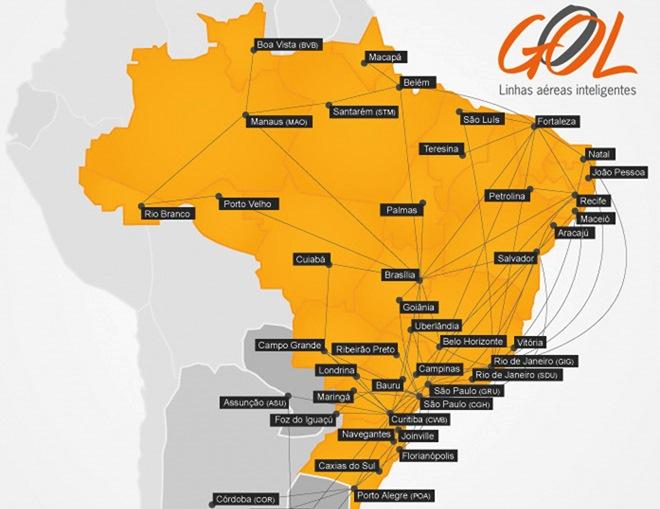 La carte des vols de Gol Airlines au Brésil