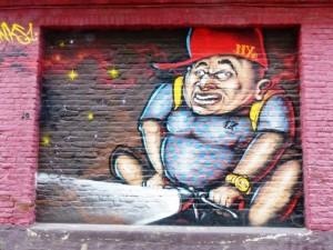 Les oeuvres de street art sur Twee Bruggenstraat ont pratiquement toutes pour thème le vélo