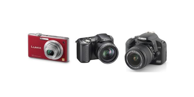Les 3 principaux types d'appareil photo ; compact, bridge et réflex