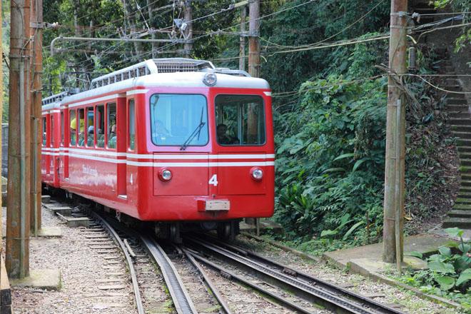 Le train funiculaire qui rejoins le sommet du Corcovado