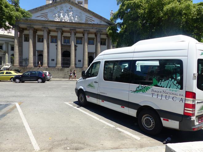 Un des vans Paineiras Corcovado permettant de rejoindre le sommet du Corcovado à Rio de Janeiro