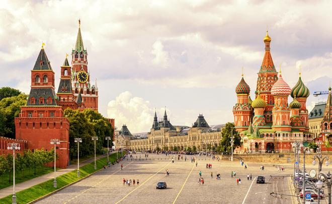 La mythique plage Rouge et le Kremlin à Moscou