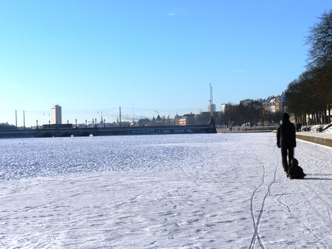 Le lac Sortedams So de Copenhague gelé