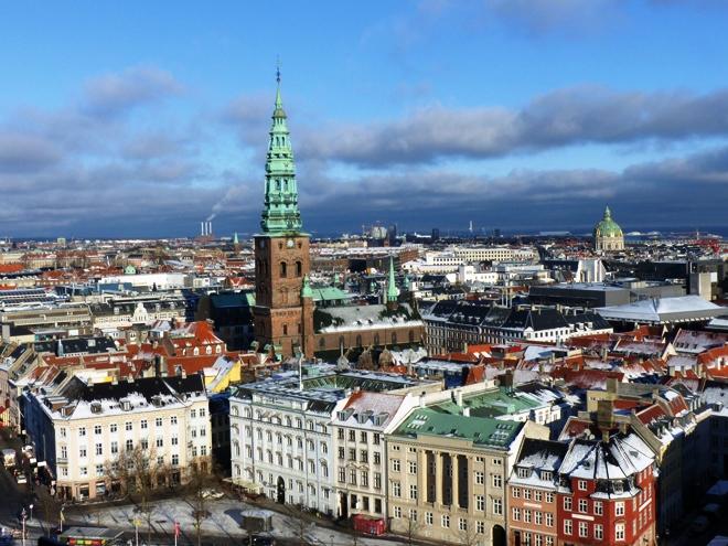 Magnifique panorama à 360° sur Copenhague depuis la tour du chateau Christiansborg
