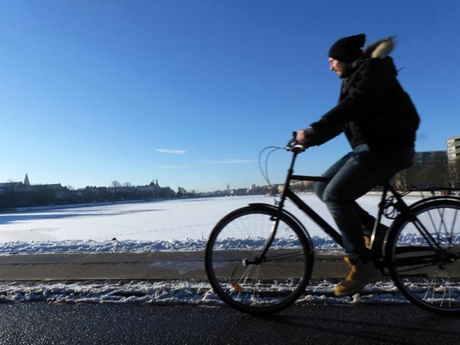 Même en hiver, les danois se déplacent en vélo