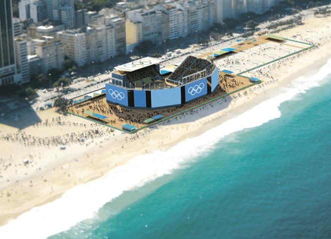 Le temporaire Beach Volleyball Arena sur Copacabana