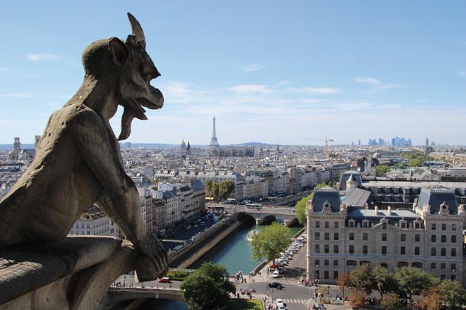 Vue sur Paris depuis le sommet des Tours de Notre Dame de Paris