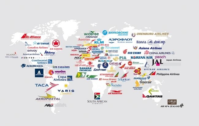 Mappemonde des compagnies aériennes