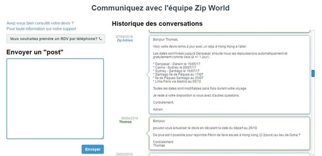 Discussion avec Zip World sur notre itinéraire de voyage