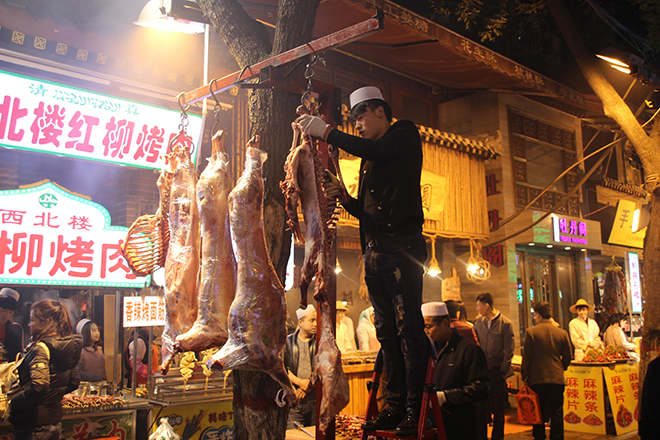 Viande découpée dans le quartier musulman de Xi'an