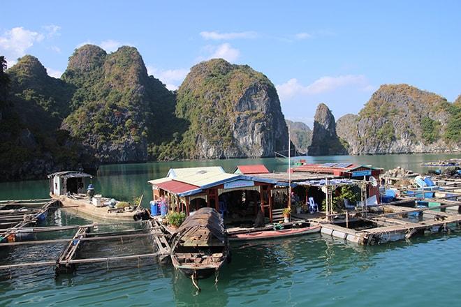 Village de pecheurs baie de Cat Ba halong croisière dans la Baie d'Halong