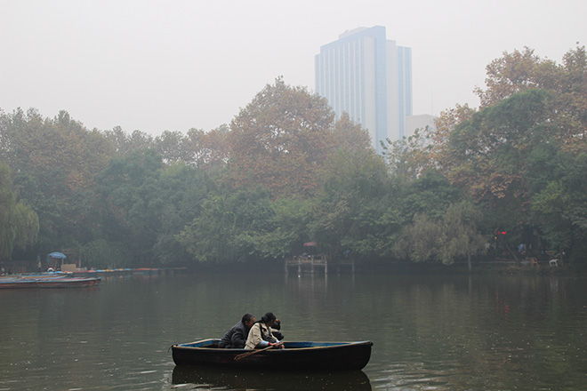 Barque dans People's Park à Chengdu