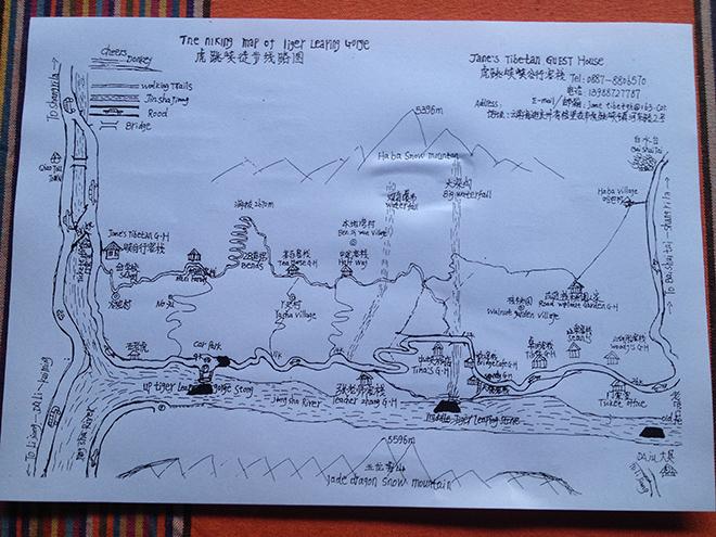 Carte du trek des gorges du saut du tigre dans le Yunnan