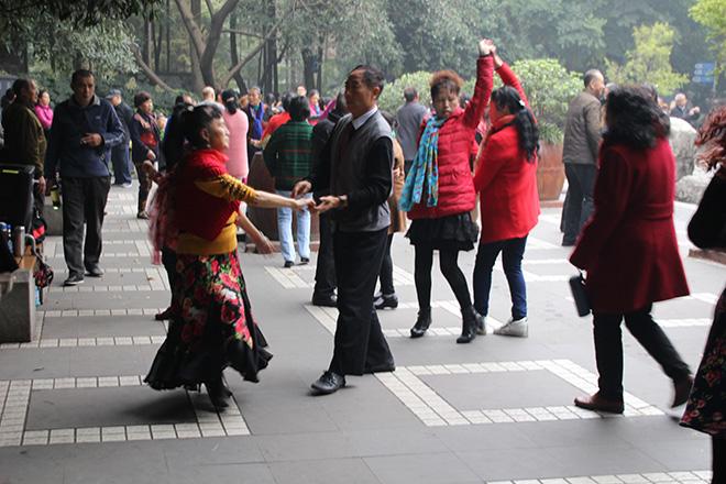 Danse dans People's Park à Chengdu