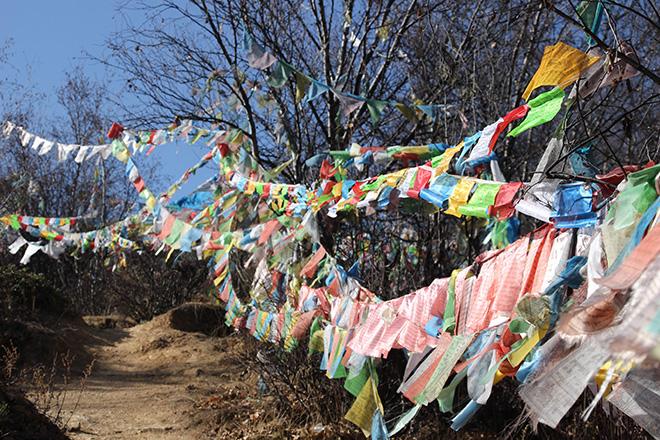 Drapeaux de prieres le long de la montée vers le monastère Baiji