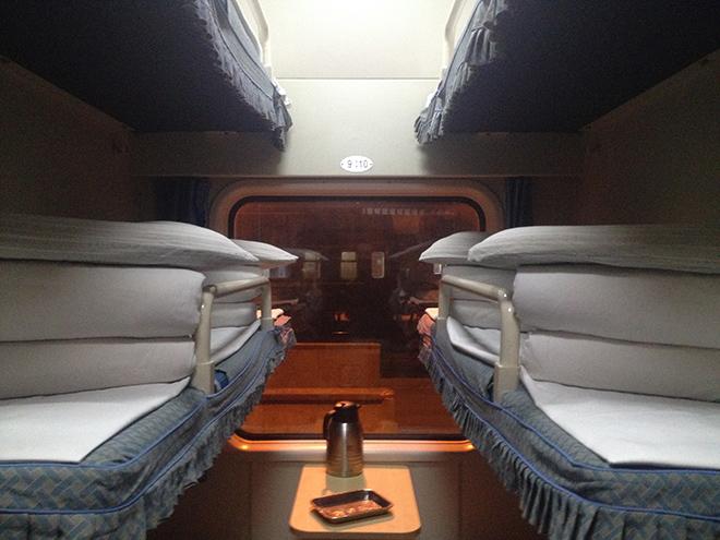 3 fois 2 couchettes c'est ça la classe Hard sleeper dans le train en Chine