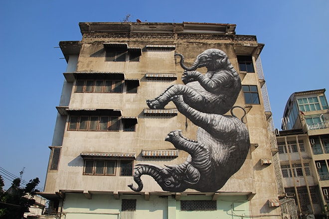 Roa Elephants Street Art Bangkok