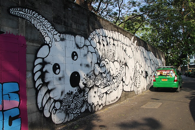 Squelette Street Art Bangkok
