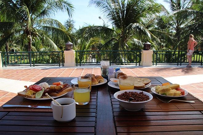 Notre petit dejeuner Pandanus Resort Mui Ne Vietnam