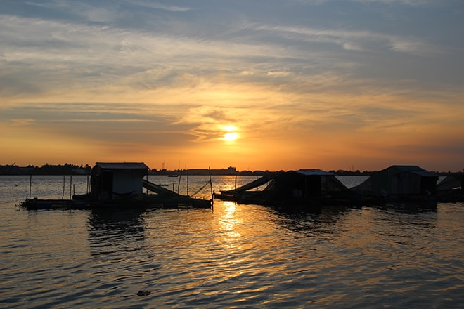 coucher de soleil sur le Mékong à An Binh / Vinh Long