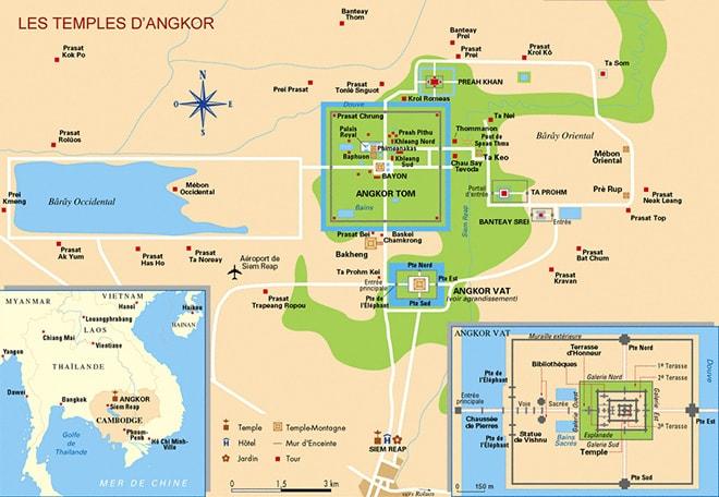 Plan des temples d'Angkor