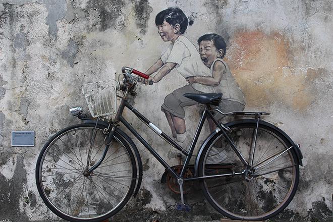 Enfants vélo 3D Street Art Penang Malaisie
