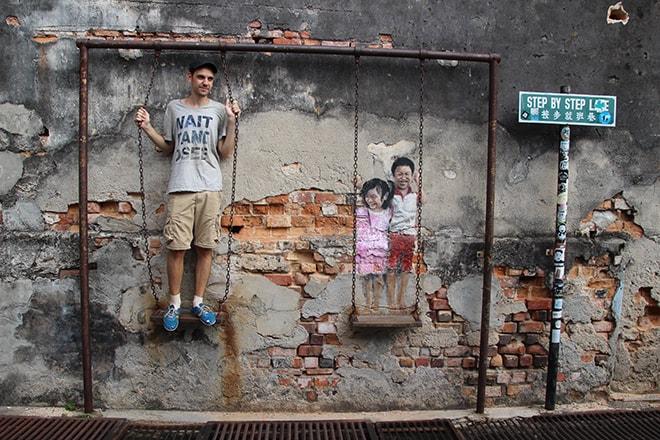 Tom balançoire 3D Street Art Penang Malaisie