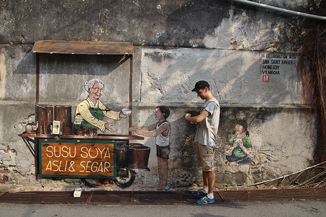 Tom file d'attente Street Art Penang Malaisie
