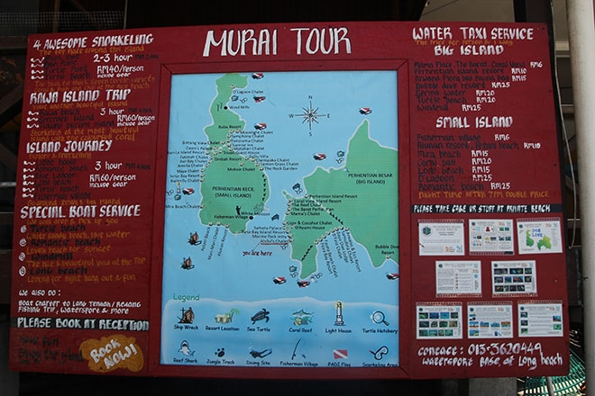 Plan des îles Perhentian