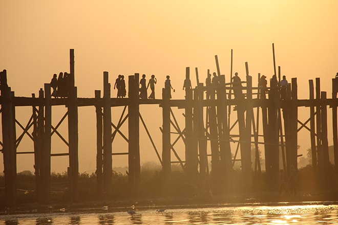 Coucher de soleil pont U Bein Mandalay