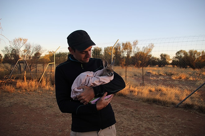 Tom et le bebe kangourou Kangaroo Sanctuary Alice Springs