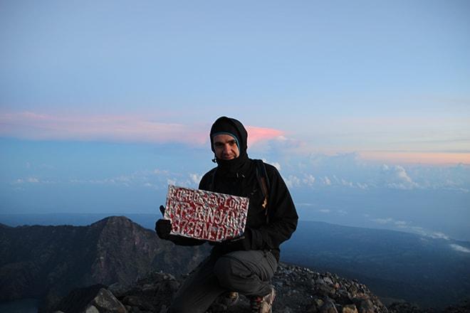 Au sommet du mont rinjani