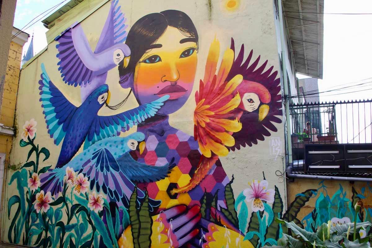 Fille oiseaux street art Valparaiso Chili